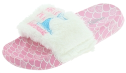 Capelli New York Girls Faux Fur Slide with Mermaid Embroidery