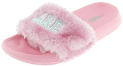 Capelli New York Girls Faux Fur I Donut Care Embroidered Fashion Slide