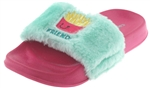 Capelli New York Girls Faux Fur Slides with Burger and Fries Embroidery
