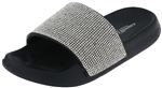 Capelli New York Girls Faux Leather Slides with Rhinestone Gem Trim