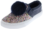 Capelli New York Girls Glitter Slip On Sneaker with Fur Pom Detail