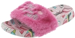 Capelli New York Girls Faux Fur Slides with Crunchy Glitter Appliques and Metallic Embroidery