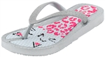 Capelli New York Girls Flip Flops with Fine Glitter on Leo Cat Print