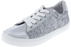 Capelli New York Girls Metallic and Glitter Fashion Sneakers