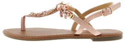 Capelli New York Ladies T-Strap Sandal with Rhinestones and Gem Trim