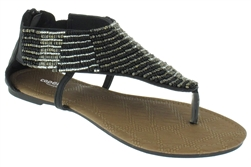 Capelli New York Ladies Sandal With Beaded Thong & Zipper Closure