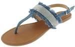 Capelli New York Ladies Sandals with Denim, Tassel and Rhinestone Detail