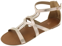 Capelli New York Ladies Sandals with Cross Pattern and Side Buckle Detail