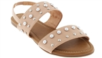 Capelli New York Ladies Sandals with Double Straps, Metal Studs and Pearl Embellishment Detail