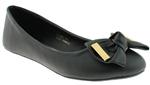 Capelli New York Faux Leather with Metal Tipped Bow Ladies Flats