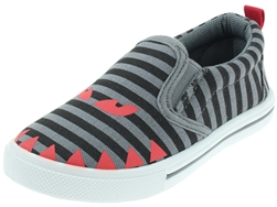 Capelli New York Toddler Boys Striped Canvas Slip On Sneakers with Printed Monster Face