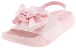 Capelli New York Toddler Girls Satin with Oversized Bow Trim and Elastic Backstrap