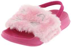 Capelli New York Toddler Girls Simple Cat Slide with Embroidery and Elastic Backstrap