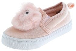 Capelli New York Toddler Girls Velvet Sneaker with Faux Fur Pom with Eyes