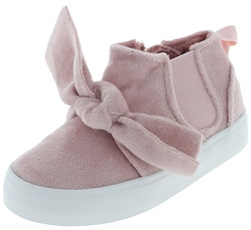 Capelli New York Toddler Girls Velvet Sneakers with Bow Detail
