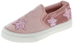Capelli New York Toddler Girls Slip On Sneakers with Glitter Stars Applique