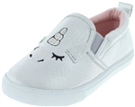Capelli New York Toddler Girls Metallic Slip On Shoes with Sleepy Unicorn Embroidery and 3D Ears