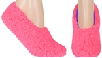 Capelli New York Ladies Solid Faux Berber Pull On Slipper Socks with Grippers