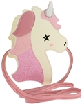 Unicorn Shape Di Cut Crossbody Bag with Glitter