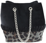 Faux Leopard Cross Body Bucket Bag