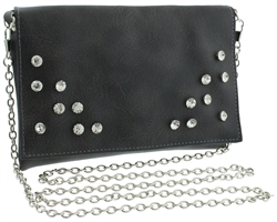 Crossbody Distressed PU Bag with AB Stones