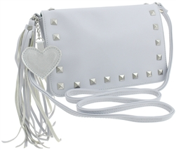 PU Cross Body with Stud, Tassel & Heart Details
