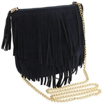 Faux Suede Cross Body Bag with Fringe
