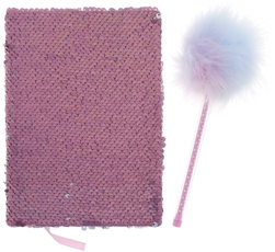 Reversible Sequin Notebook and Pom Pen Set
