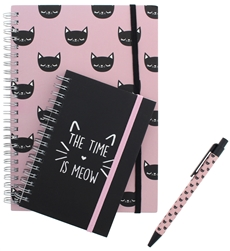 Capelli New York 2pc Notebooks & Pen Set - The Time is Meow