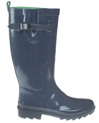 Capelli New York Shiny Solid With Buckle And Gusset Ladies Rain Boot