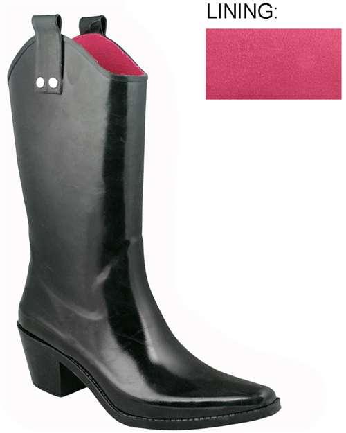 Capelli New York Shiny Solid Cowboy Ladies Rubber Rain Boot
