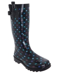 Capelli New York Multi Dots Printed with Buckle Ladies Tall Rain Boot
