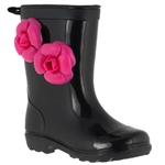 Capelli New York Jelly Flower Trim And Back Pull Loop Girls Basic Body Jelly Rain Boot