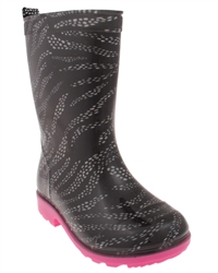 Capelli New York Girls Shiny Spotted Zebra Printed Jelly Rain Boot