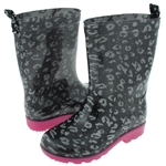 Capelli New York Shiny Glitter Leopard Printed Girls Rain Boots