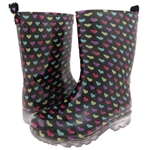 Capelli New York Multi Shadow Hearts Print Girls Rain Boot