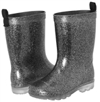 Capelli New York Girls Silver Glitter Rain Boot Black Combo 1/2