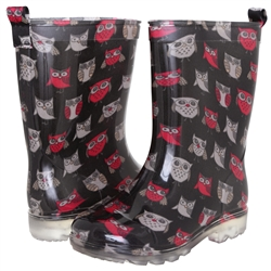Capelli New York Girls Stretchy Pop Owls Printed Jelly Rain Boot Black Combo