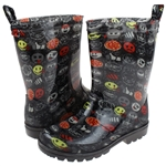 Capelli New York Boys Rain Boots with Emoji Ninja Print