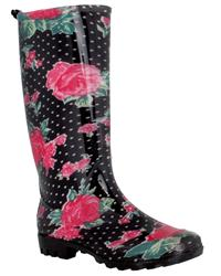 Capelli New York Rose And Polka Dot Printed Ladies Basic Body Jelly Rain Boot