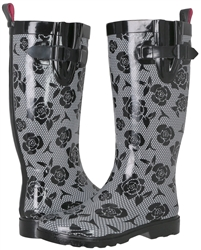 Capelli New York Ladies Shiny Lace & Roses Printed Tall Rain Boot Black Combo