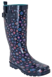Capelli New York Ladies Tall Sporty Rubber Rain Boots with Marble Print