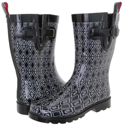 Capelli New York Ladies Diamond Rows Printed Short Rubber Rain Boot