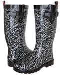 Capelli New York Two Color Pebble Pattern Printed Ladies Tall Rubber Rain Boot