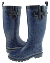 Capelli New York Small Daisy Lace Printed Ladies Tall Rubber Rain Boot