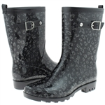 Capelli New York Glitter Printed Leopard Ladies Short Basic Body Jelly Rain Boot
