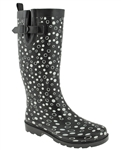 Capelli New York Ladies Sprinkle Dot Print Tall Rain Boot