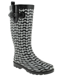 Capelli New York Ladies Split Dot Lines Print Tall Rain Boot