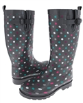 Capelli New York Multi Dots Gusset & Back Pull Loop Tall Women's Rain Boots