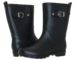 Capelli New York Matte Solid Mid-Calf with Buckle Strap Ladies Rain Boots